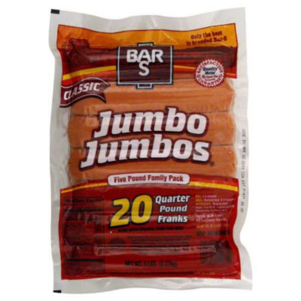 Bar S Franks, Jumbo Jumbos, Classic, Five Pound Family Pack