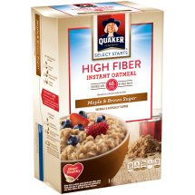 Quaker® Select Starts High Fiber Maple & Brown Sugar Instant Oatmeal, 8 Count, 1.58 oz. Packets