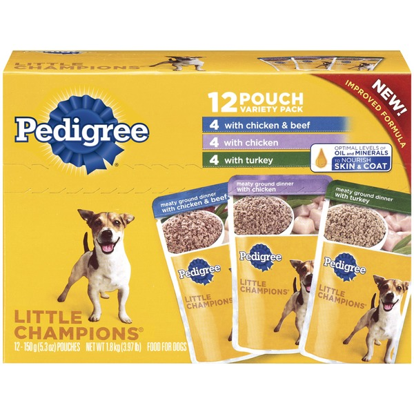 Pedigree Little Champions with Chicken & Beef with Chicken with Turkey 5.3 Oz Pouches (PS # 5114329) Wet Dog Food