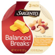 Sargento Balanced Breaks Natural Sharp Cheddar Cheese, Sea Salted Cashews & Cherry Juice Infused Dried Cranberries Snacks, 1.5 oz, 3 ct