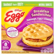 Kellogg's Eggo Sausage, Egg & Cheese Breakfast Sandwiches Family Pack, 8 count, 27.6 oz