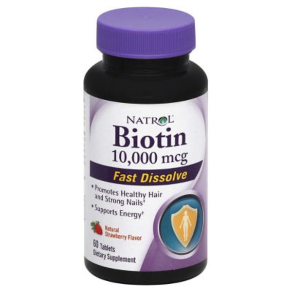 Natrol Biotin 10,000 mg Tablets Natural Strawberry Flavor