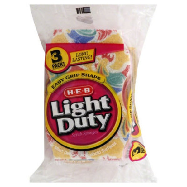 H-E-B Easy Grip Shape Light Duty Scrub Sponges