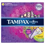 Tampax Radiant Plastic Tampons Duopack (Regular/Super), 32 Count