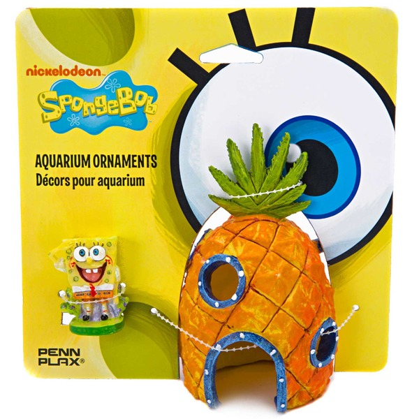 Penn-Plax Sponge Bob & Pineapple House Aquarium Ornament Pack Of 2 Ornaments