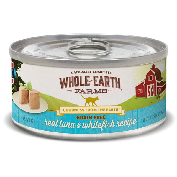 Whole Earth Farms Grain Free Real Tuna & Whitefish Canned Cat Food Case Of 24 5 Oz.