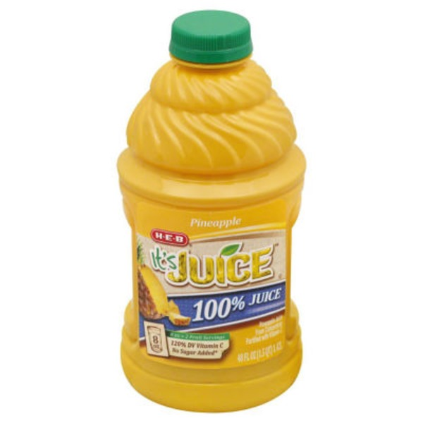 H-E-B It's Juice 100% Pineapple Juice From Concentrate Fortified With Vitamin C
