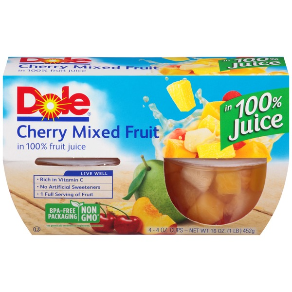 Dole Fruit Bowls Cherry Mixed Fruit in 100% Juice