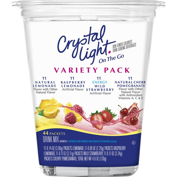 Crystal Light On the Go Lemonade/Raspberry Lemonade/Wild Strawberry with Caffeine/Cherry Pomegranate Variety Pack Drink Mix