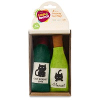 Leaps & Bounds Plush Wine Bottles Cat Toy With Catnip