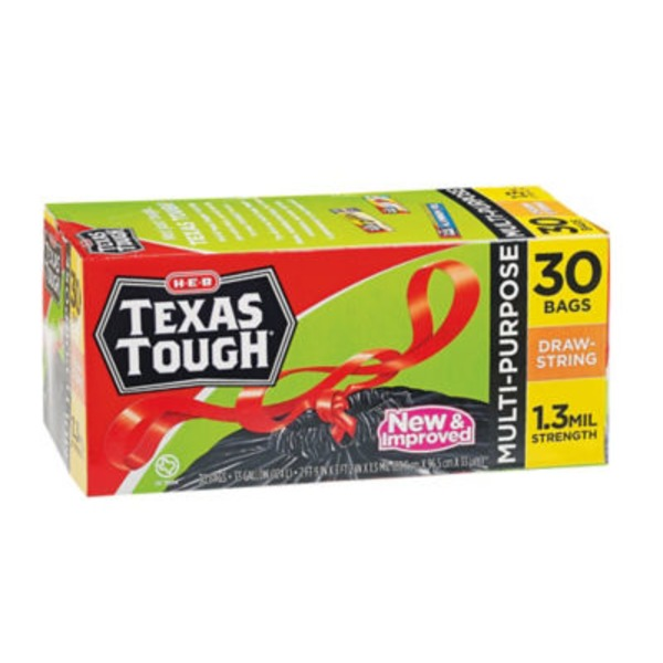 H-E-B Texas Tough 33 Gallon Draw String Trash Bags
