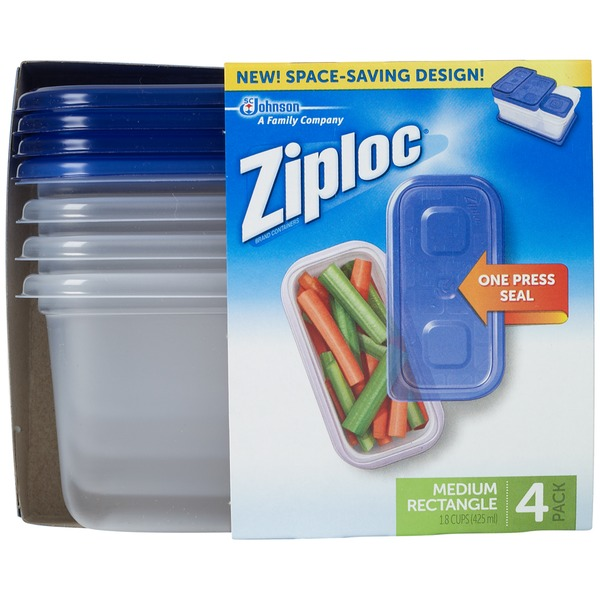Ziploc One Press Seal Medium Rectangle Containers