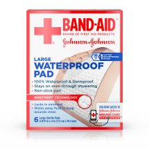 BAND-AID® Brand of First Aid Products Waterproof Pads, for Minor Cut and Scrapes, 2.9 by 4 Inches, 6 Count