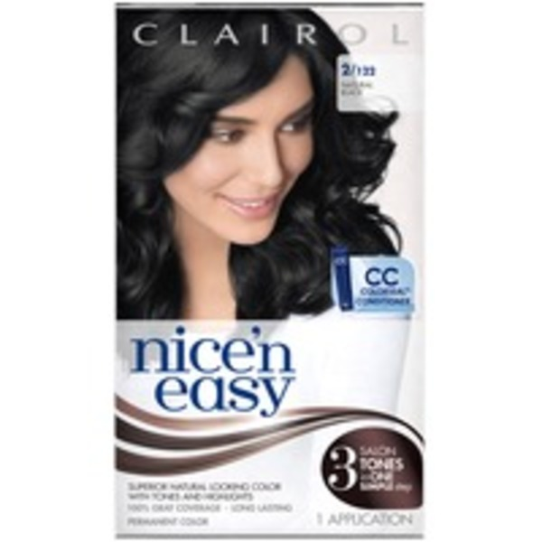 Clairol Nice 'N Easy Permanent Hair Color 2 Natural Black 1 Kit  Female Hair Color