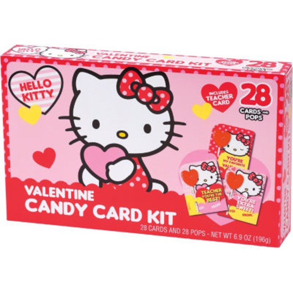Frankford Hello Kitty  Valentine Cards + Lollipops Candy Card Kit