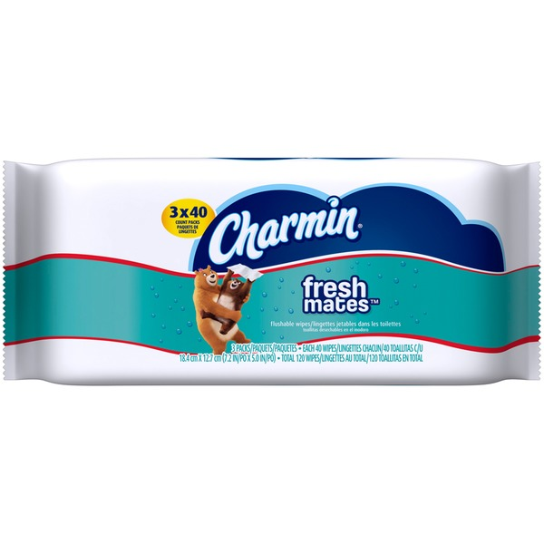 Charmin Fresh Cloths Charmin Freshmates 120 Count Refill Pack (3 Packs of 40 Count Fresh Wipes) Toilet Tissue