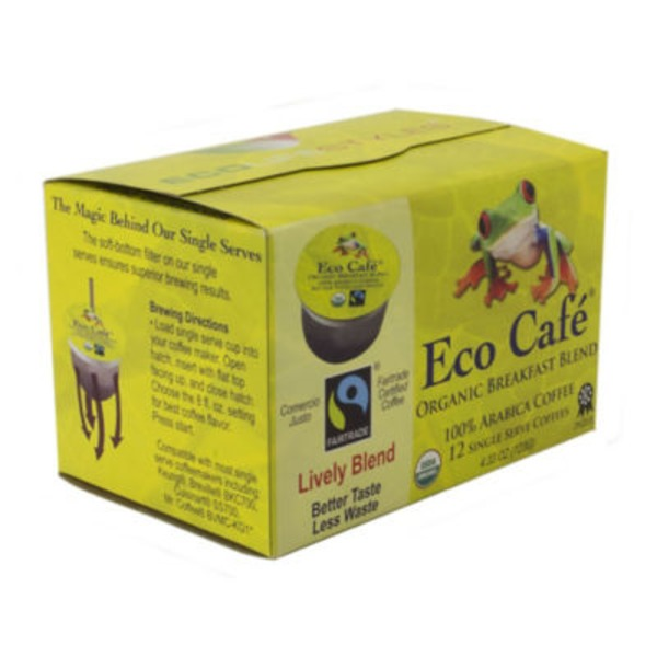 Eco Café Coffee, Breakfast Blend, Single Serve, Organic, Box