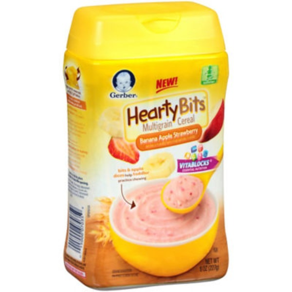 Gerber Cereal Hearty Bits Banana Apple Strawberry Multigrain Toddler Cereal