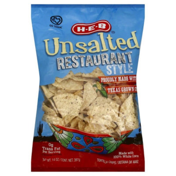H-E-B Unsalted Restaurant Style Tortilla Chips