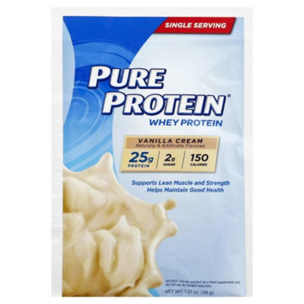 Pure Protein Dietary Supplement, Whey Protein, Vanilla Cream, Envelope