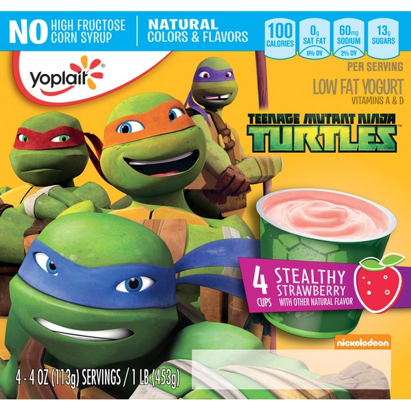 Yoplait Teenage Mutant Ninja Turtles Stealthy Strawberry Low Fat Yogurt