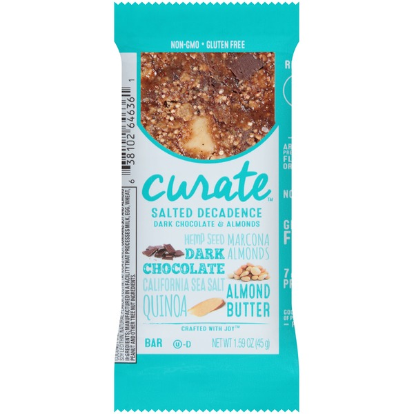 Curate Salted Decadence Dark Chocolate & Almonds Snack Bar