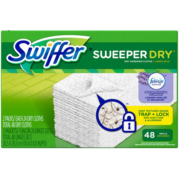 Swiffer Sweeper Dry Sweeping Pad Refills for Floor mop with Febreze Lavender Vanilla & Comfort Scent 48 Count Surface Care