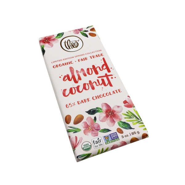 Theo Chocolate Organic Dark Chocolate Almond Coconut Bar
