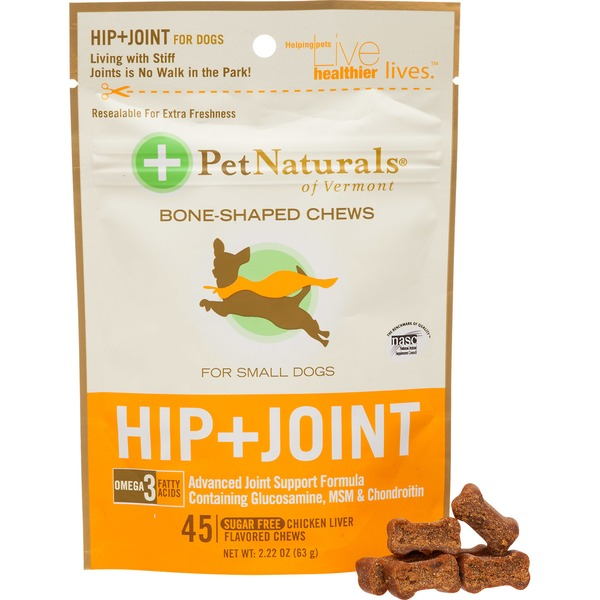 Pet Naturals Of Vermont Chicken Liver Flavored Hip + Joint Bone-Shaped Chews for Small Dogs