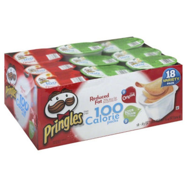 Pringles 100 Calorie Packs Original/Sour Cream & Onion Variety Pack Potato Crisps