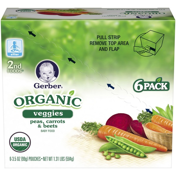 Gerber Organic 2 Nd Foods Organic Peas, Carrots & Beets Baby Food