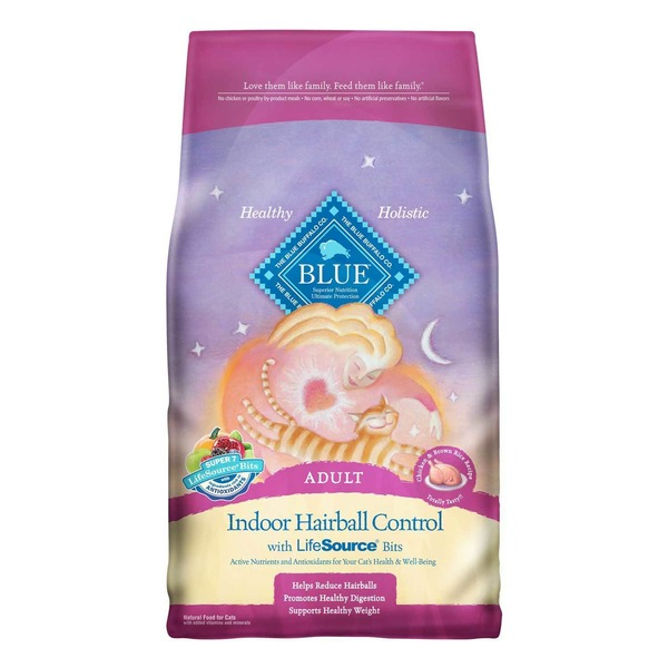 Blue Buffalo Food for Cats, Natural, Adult, Indoor Hairball Control, Chicken & Brown Rice Recipe