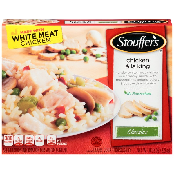 Stouffer's Classics Tender white meat chicken in a creamy sauce, with mushrooms, onions, celery and peas with white rice Chicken A la King