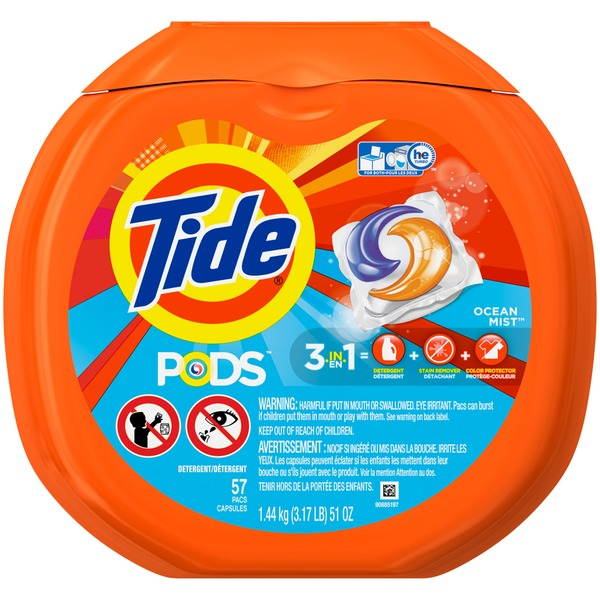 Tide PODS Laundry Detergent, Ocean Mist, 57 count, Designed for Regular and HE Washers Laundry