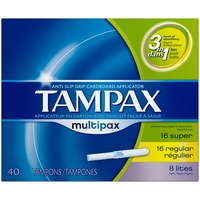 Tampax Multipax Cardboard Applicator Unscented Tampons 40 count Feminine Care