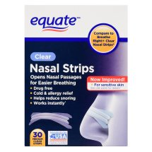 Equate Clear Nasal Strips, Medium Strips, 30 count