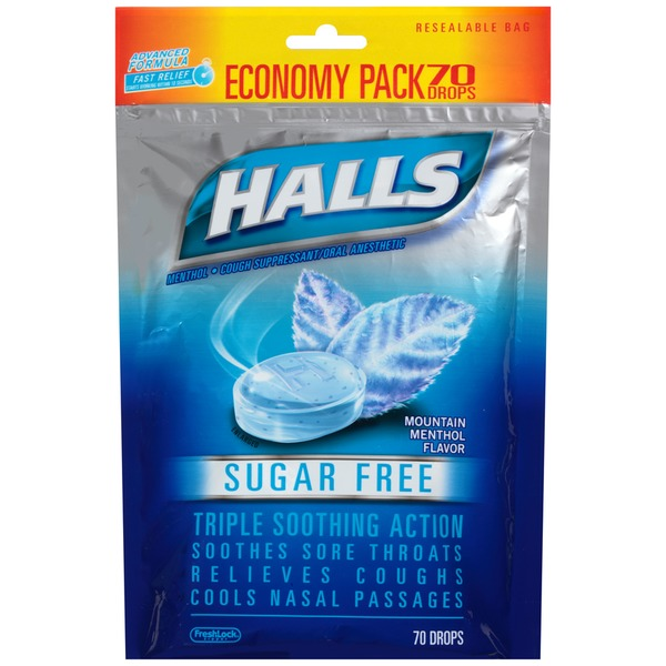 Halls Sugar Free Mountain Menthol Menthol Drops Cough Suppressant/Oral Anesthetic