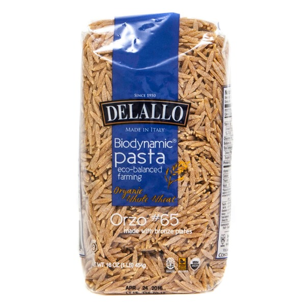 DeLallo Organic Biodynamic Whole Wheat Orzo #65 Pasta