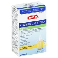 H-E-B Flu & Severe Cold & Cough Tea Packets Nighttime Honey Lemon Infused With White Tea Flavors