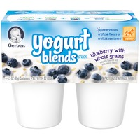 Gerber Yogurt Blends Snack Blueberry with Whole Grains Yogurt Blends Snack 3.5 oz Cups 4 Yogurt with Whole Grains