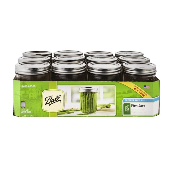 Ball Freezer Safe Pint Jars Wide Mouth - 12 CT