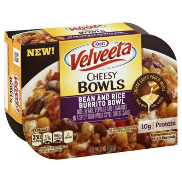 Kraft Dinners Velveeta Bean & Rice Burrito Bowl Cheesy Bowls