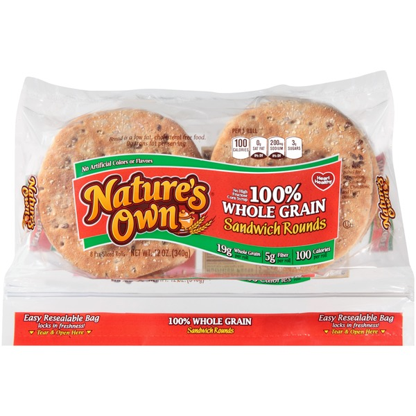 Nature's Own 100% Whole Grain Sandwich Rounds