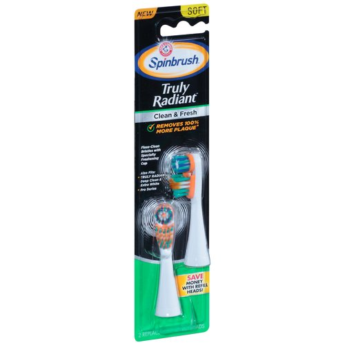 Arm & Hammer Spinbrush Truly Radiant Clean & Fresh Toothbrush Heads Soft