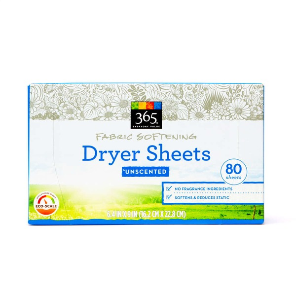 365 Unscented Fabric Softening Dryer Sheets