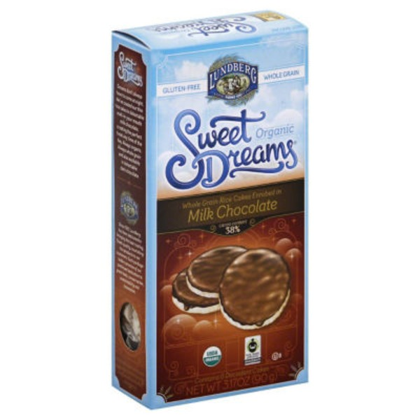 Lundberg Family Farms Sweet Dreams Whole Grain Enrobed in Milk Chocolate Organic Rice Cakes