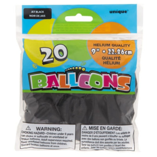 Unique 9 Inch Jet Black Balloons