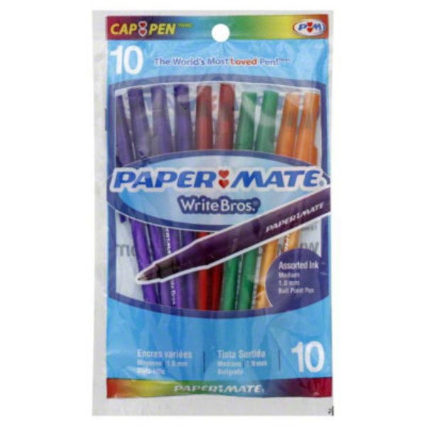 Paper Mate Ball Point Pens, Cap-Pen, Medium (1.0 mm), Assorted Ink