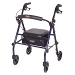 Carex Steel Rolling Walker Rollator with Padded Seat and Backrest