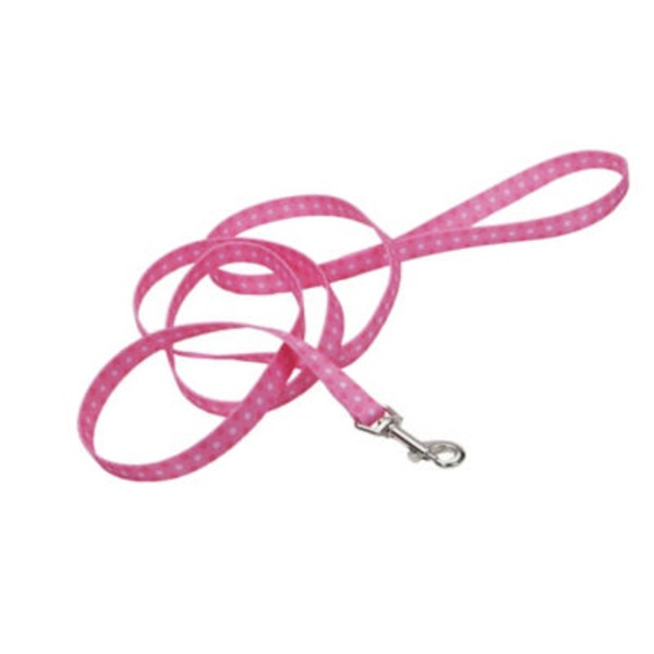 Coastal Pet Pet Attire Styles 5/8 Inch Pink Polka Dot Leash